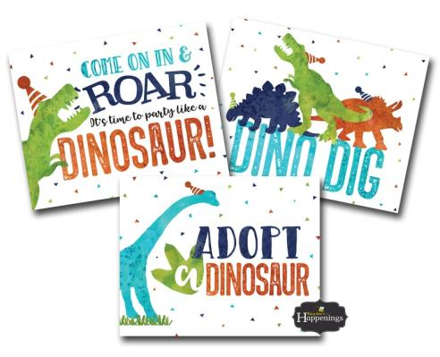 dinosaur signs for birthday party