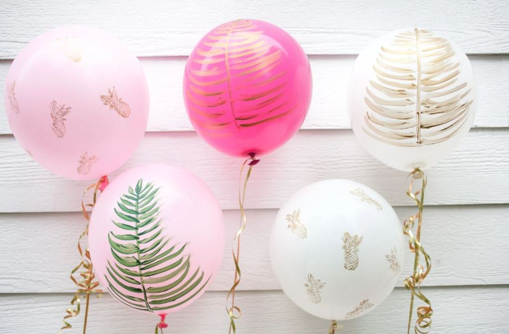 tropical fern pineapple balloons