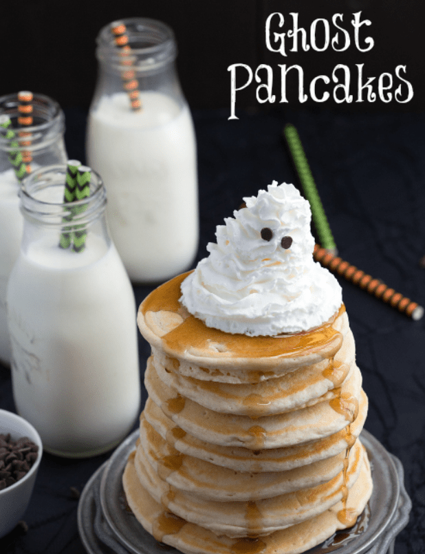 ghost pancakes for Halloween birthday