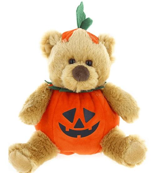 cute teddy bear with pumpkin costume
