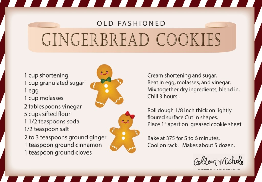 free old fashioned gingerbread cookie recipe card