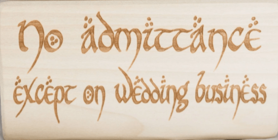 Wooden medieval wedding signs