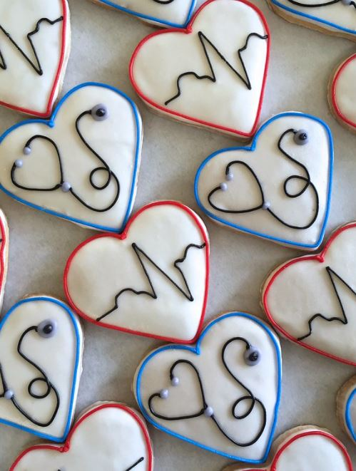 Heart cookies with stethoscope