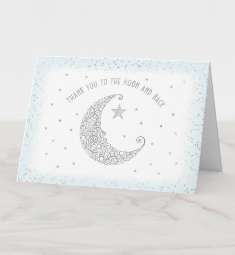 moon and stars thank you card
