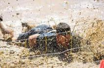 The mud crawl....barb wire with electric wires...