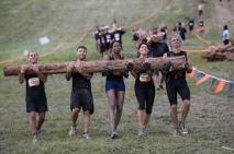 Teamwork! Mile run carrying the log.