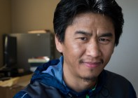 Imprisoned in a concentration camp for years because of his community organizing activities, Paulmang was a refugee from Myanmar who now works with refugees in Portland from SE Asia. February 2016.