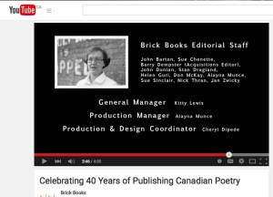 "From Brisk Books' video ""Celebrating 40 Years of Publishing Canadian Poetry"" -- this photo of Colleen Thibaudeau appears at the 3:45 mark."