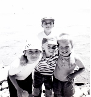 Summer 1962: James Stewart Reaney (back) and Jonathan Beckwith, John Reaney, and Simon Beckwith. Summer 1962.