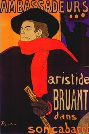 Chanson réaliste singer Aristide Bruant (1851-1925) in a portrait by Henri de Toulouse-Lautrec, courtesy wikipedia: