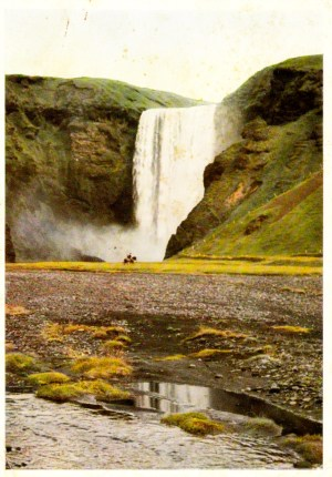 Postcard of Skógafoss, a waterfall on the Skógá River in Iceland, sent to Colleen by her friend Karin (1970)