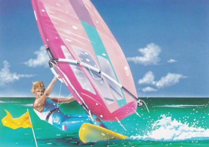 80s retro windsurfing illustration beach ocean