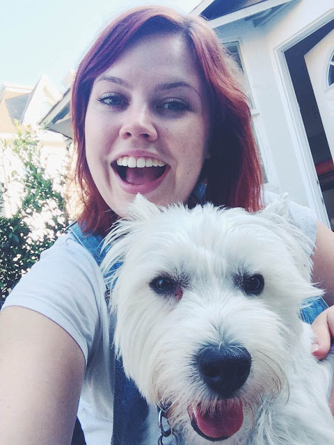 selfie with westie dog puppy