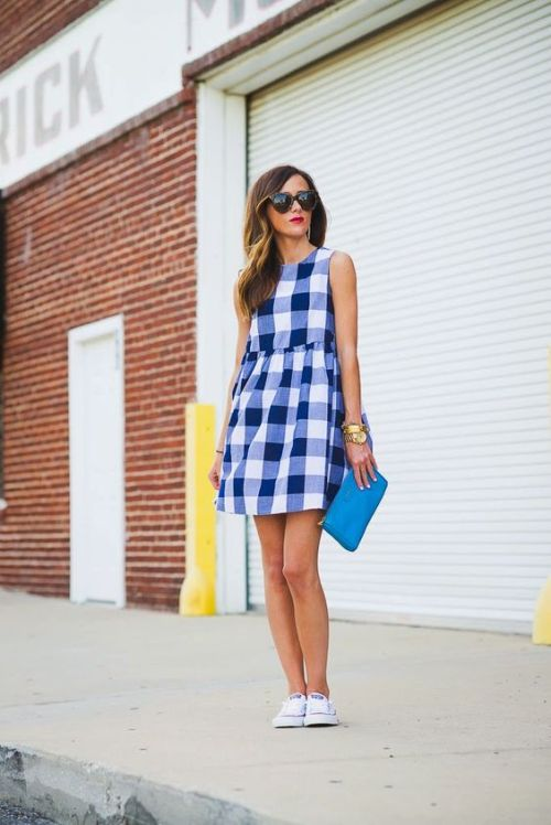 cute 4th of july outfit gingham dress