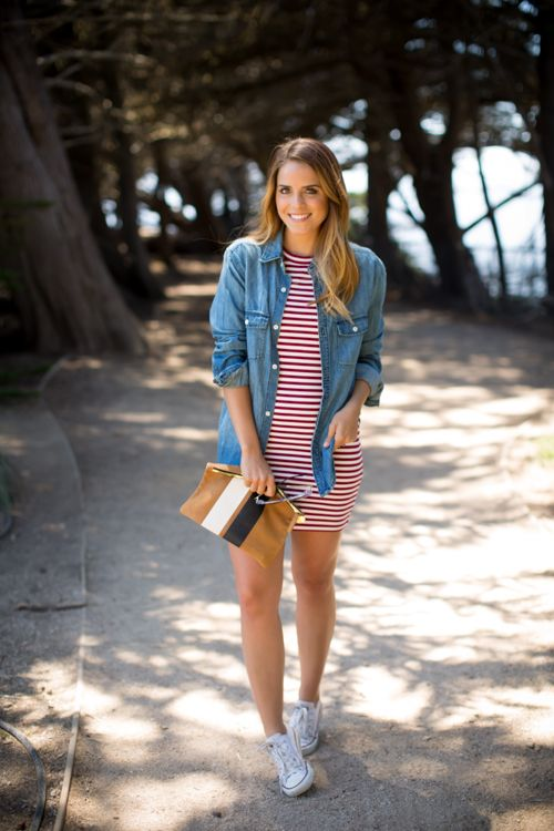 cute 4th of july outfit striped dress denim shirt white sneakers