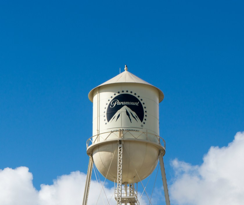 The famous Paramount Studios water tower in Hollywood, California.