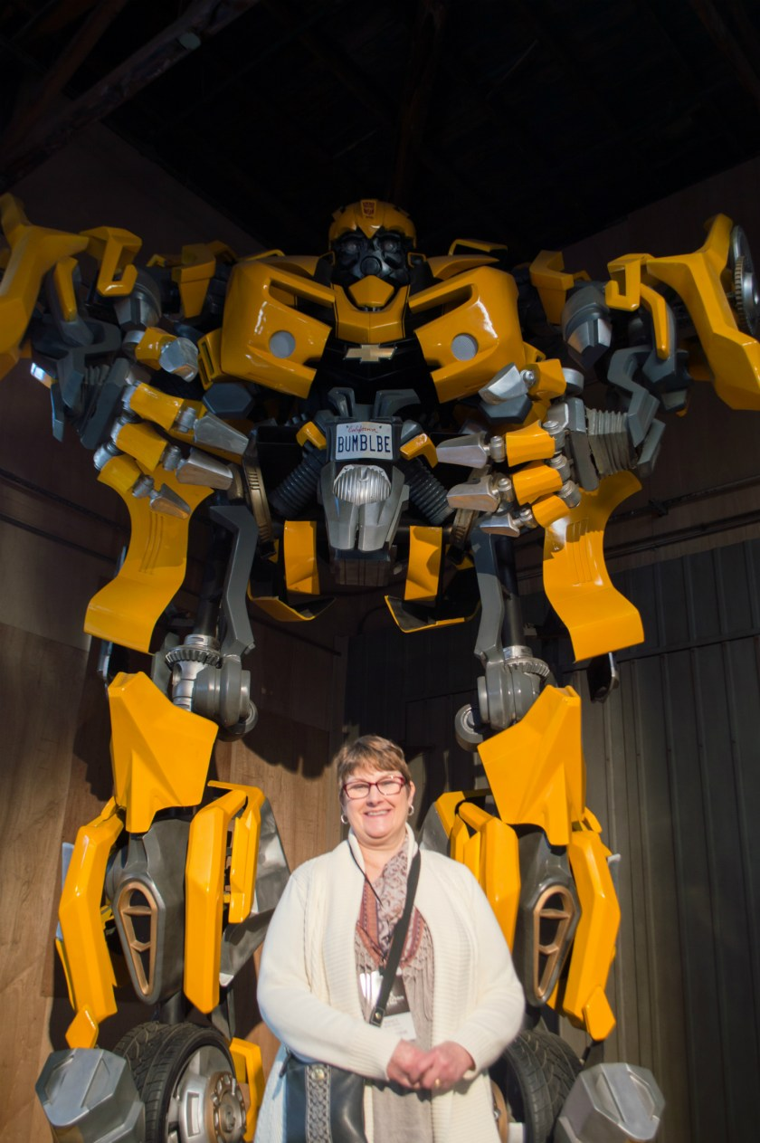 My mom with a Transformer at Paramount Pictures Studio in Los Angeles, California.