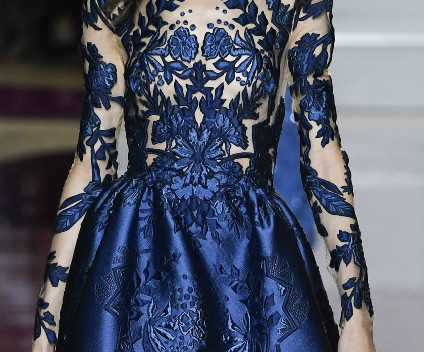 Zuhair Murad Fall 2016 Couture detail of navy gown