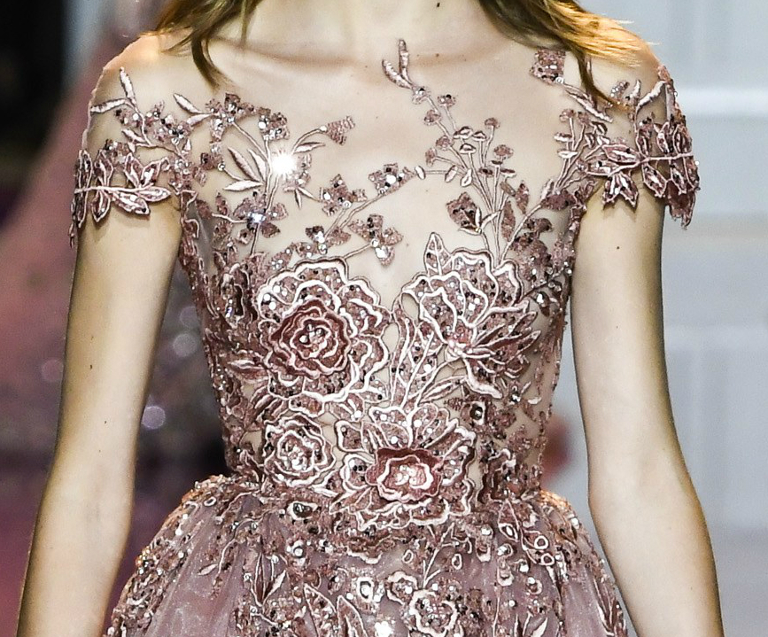 Zuhair Murad Fall 2016 Couture detail of pink gown bodice with sequins