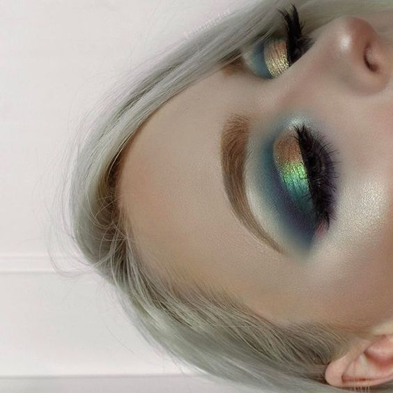 metallic rainbow makeup