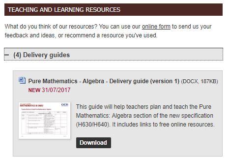 OCR Algebra Delivery Guide