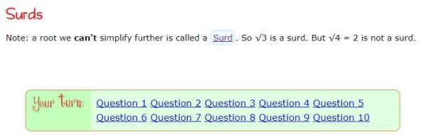 Surds Quiz