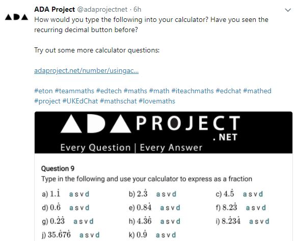 ADA Calculator Questions