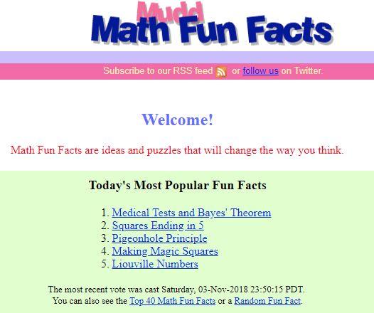 Mudd Math Fun Facts