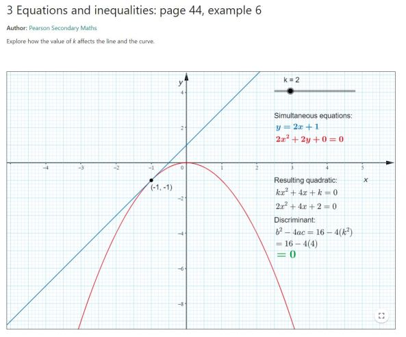 Edexcel Geogebra Equations and Inequalities