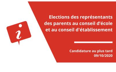 Élections des représentants des parents au conseil d'école et au conseil d'établissement