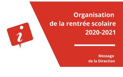 Organisation de la rentrée scolaire 2020-2021