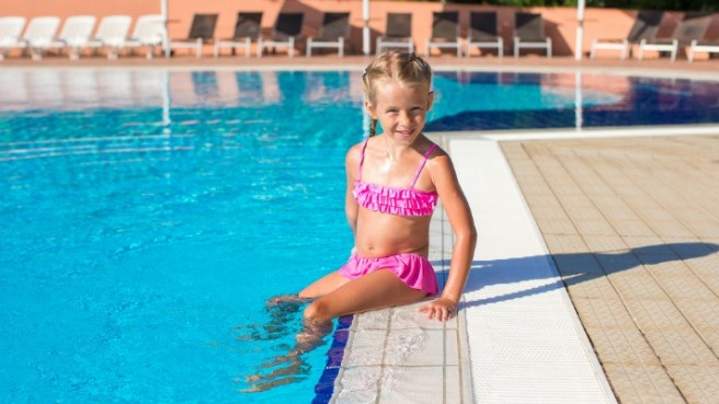 young girl swim pool bathing suit