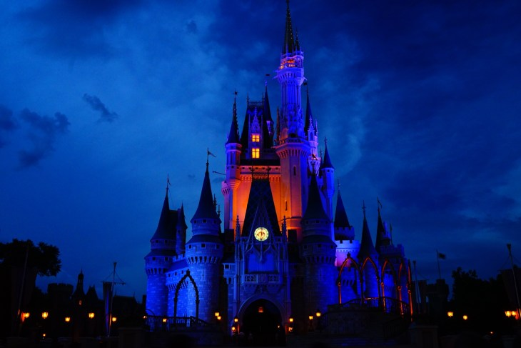 Disney World castle at night lit up