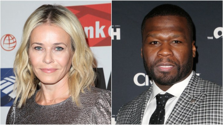 Chelsea Handler in a silver dress on the red carpet at the 2017 International Women's Media Foundation Courage In Journalism awards. 50 Cent or Curtis Jackson in a plaid suit at the premiere of the movie The Oath in Los Angeles.