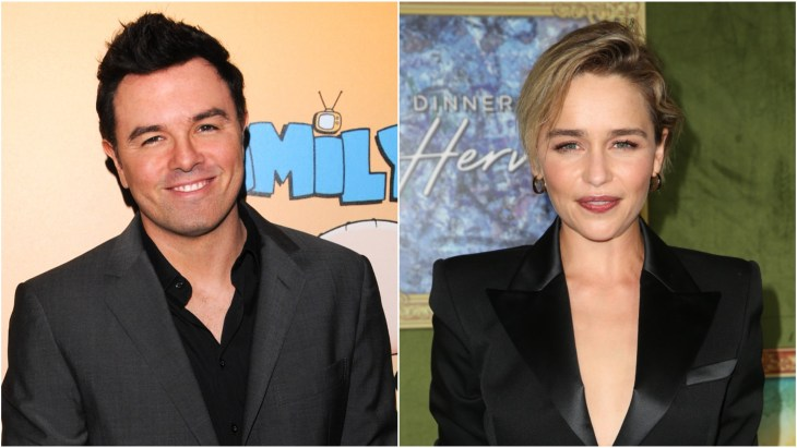 Seth MacFarlane in a dark gray suit at the Family Guy 200th episode party in Los Angeles. Emilia Clarke in a black suit at the premiere of HBO's My Dinner With Herve movie.