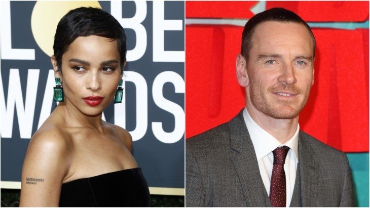 Zoe Kravitz in a black strapless dress on the red carpet at the 2018 Golden Glob Awards. Michael Fassbender on the red carpet at the Tomb Raider European premiere in London.