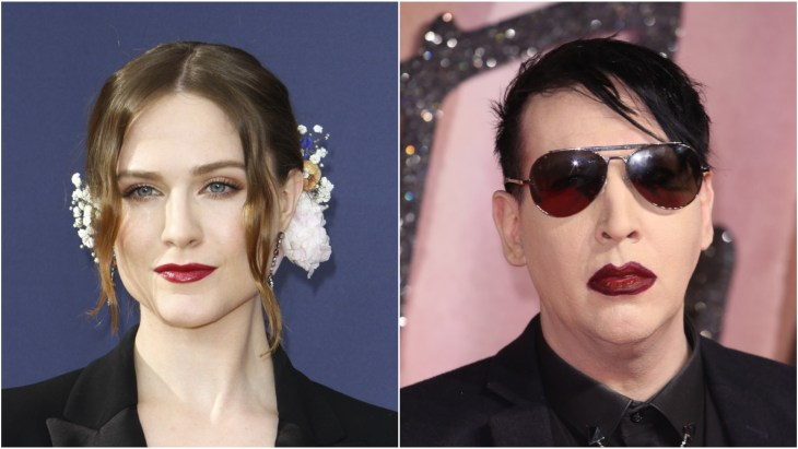 Evan Rachel Wood on the red carpet for the 70th Primetime Emmy Awards in Los Angeles. Marilyn Manson at the 2016 Fashion Awards in London at the Royal Albert Hall.