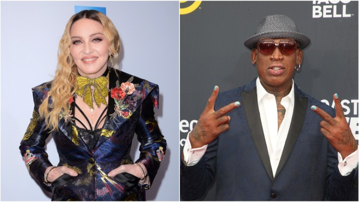 Dennis Rodman at the 2018 Comedy Central Roast of Bruce Willis throwing up the peace sign and Madonna at the Billboard Women In Music Awards 2016 on the red carpet