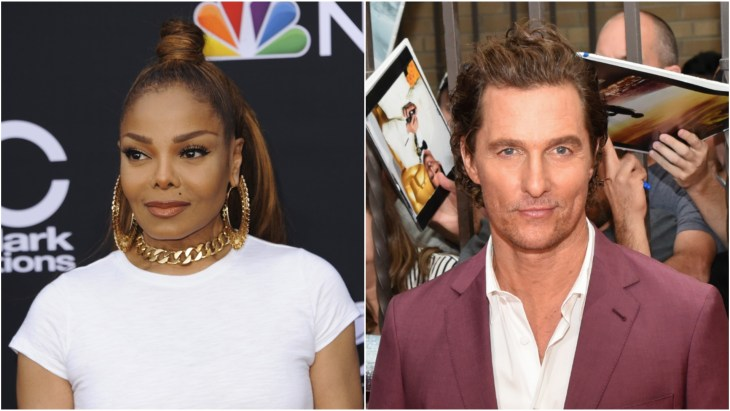 Janet Jackson in a white t-shirt and gold hoop earrings at the Billboard Music Awards 2018 red carpet and Matthew McConaughey at the 2018 Toronto International Film Festival