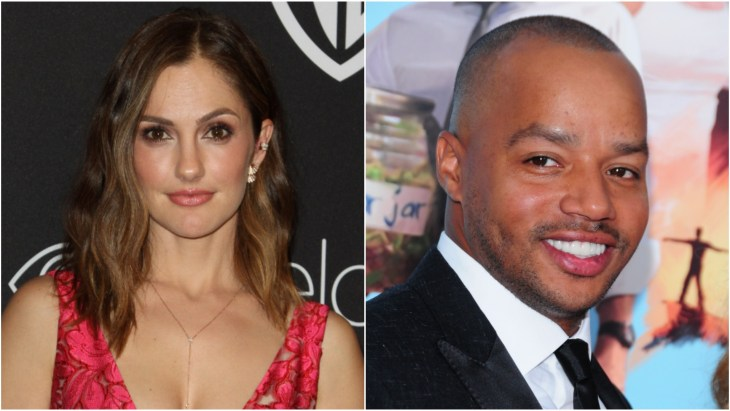 Minka Kelly at the InStyle and Warner Bros. Golden Globe 2017 after party in a red lace dress and Donald Faison at the Wish I was Here New York premiere