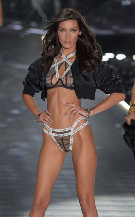 Bella Hadid modeling at the Victorias's Secret Fashion Show 2018