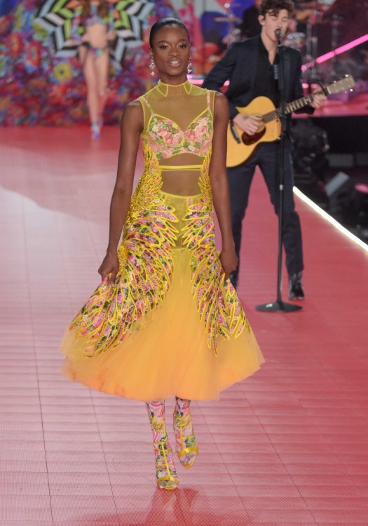 Mayowa Nicholass modeling at the Victorias's Secret Fashion Show 2018