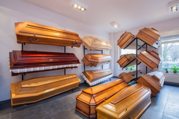Wooden caskets in a funeral home