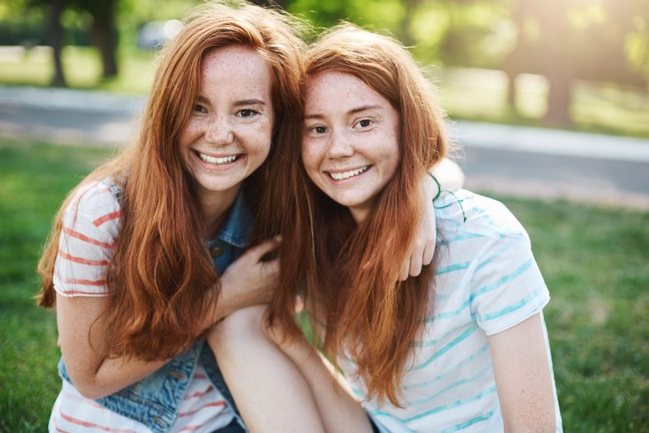 Identical ginger twin sisters