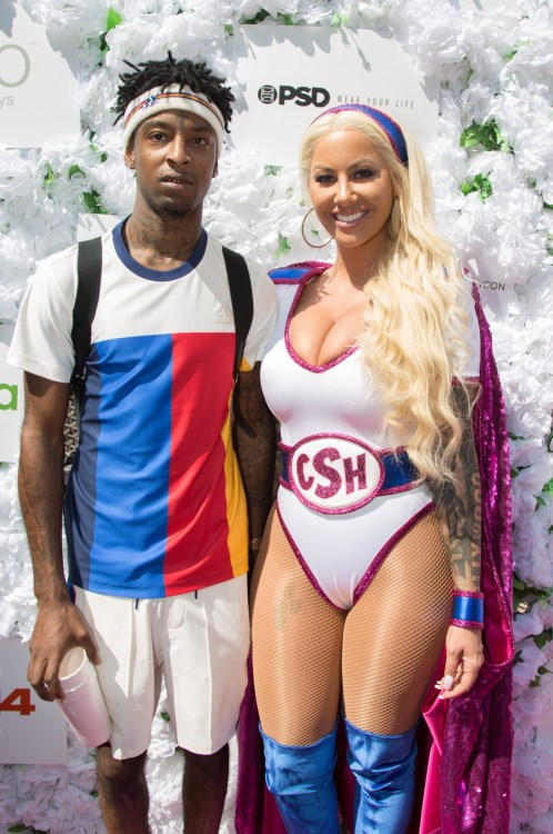 Amber Rose and boyfriend 21 Savage at the 3rd Annual Amber Rose SlutWalk in 2017