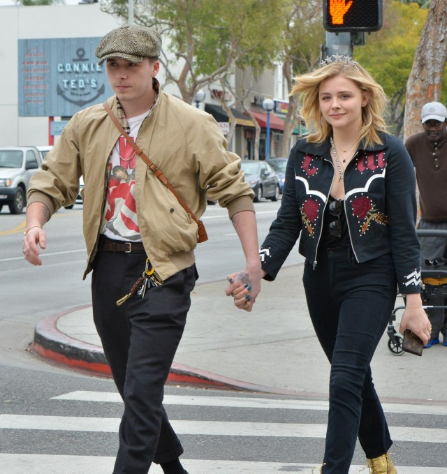 Brooklyn Beckham and girlfriend Chloe Grace Moretz walking in Los Angeles holding hands