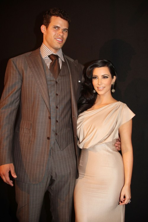 Kim Kardashian and Kris Humphries at the Welcome To New York party 2011
