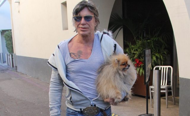 Mickey Rourke carries his pet dog as he leaves Cafe Roma on Christmas Eve Featuring: Mickey Rourke Where: Los Angeles, California, United States When: 24 Dec 2016 Credit: WENN.com