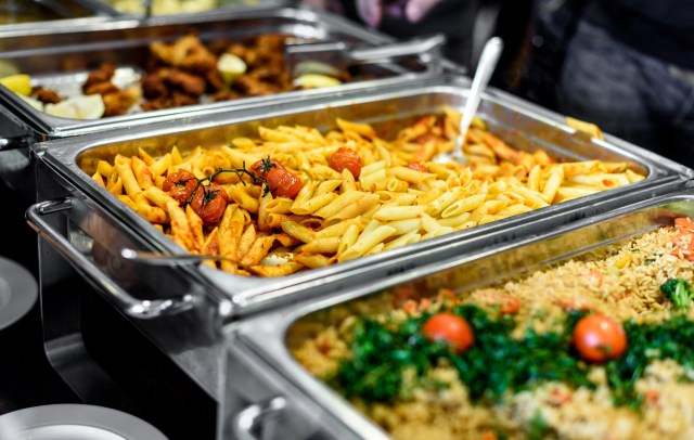 Pasta and other foods served buffet style