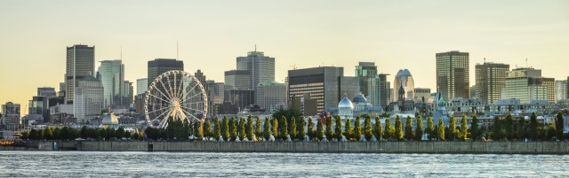 Scenic view of Montreal, Canada from across the Lawerence River with Ferris wheel in view